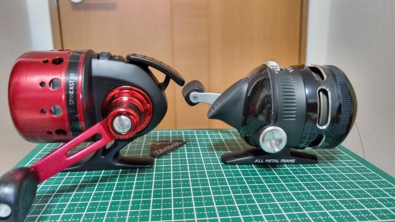 14スピンキャスト80とゼブコ オメガプロZ02 クラッチボタン比較